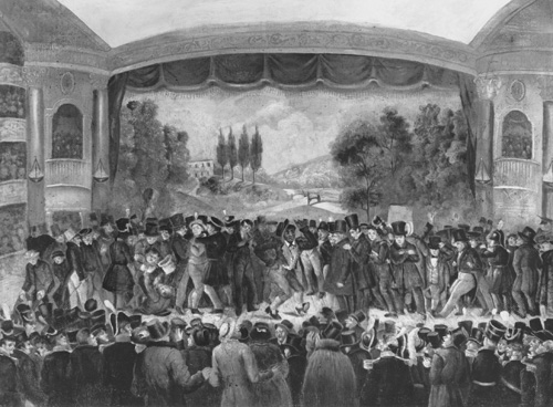 """Thomas Dartmouth Rice performing """"Jim Crow,"""" at the Bowery Theatre, New  York, 1833. Rice is center stage, surrounded by men and boys from the  audience, ..."""